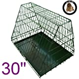 Ellie-Bo Sloping Puppy Cage Folding Dog Crate with Non-Chew Metal Tray with Slanted Front for Car, Medium, 30-inch, Black