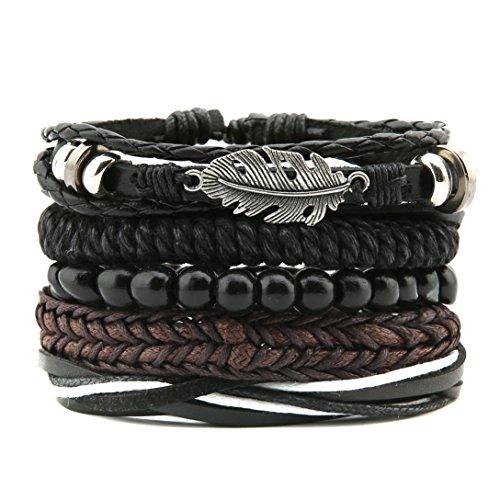 HZMAN Mix 4 Wrap Bracelets Men Women, Hemp Cords Wood Beads Ethnic Tribal Bracelets, Leather Wristbands (SZ7506T)