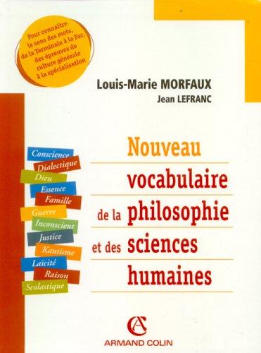Nouveau vocabulaire de la philosophie et des sciences humaines (French Edition)