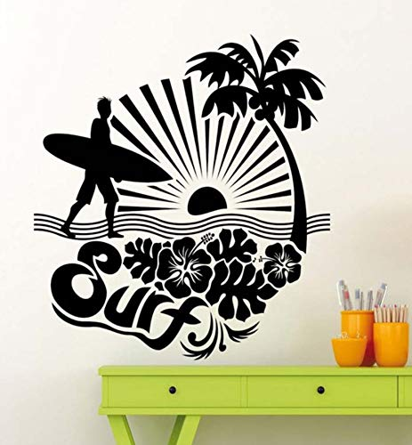 Dalxsh Surf Surfing Logo Adventure Sea Ocean Wall Stickers for Bedroom Boys Vinyl Decals Living Room Art Quotes Post Murals 42X42Cm ()