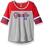 NFL Girls 7-16″ Fan-Tastic Short Sleeve Tee-Heather Grey-L(14), New York Giants