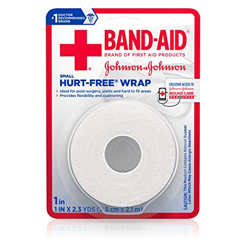 (Band-Aid Brand of First Aid Products Hurt-Free Self-Adherent Wound Wrap for Securing Dressings On Post-Surgical Wounds, Joints, or Other Hard-to-Fit Areas, 1 in by 2.3 yd (Pack of 2))