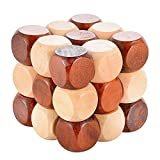 Wooden Puzzle Games,Sanmersen 3D Brain Teasers Snake Cube IQ Toys Interlocking Jigsaw Puzzles Game Toy for Kids