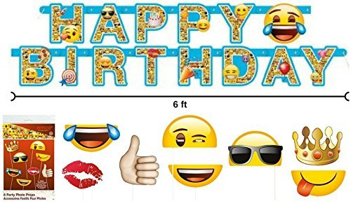 Emoji 6 ft Birthday Banner and 8 ct Party Photo - Sunglasses 8 Letters