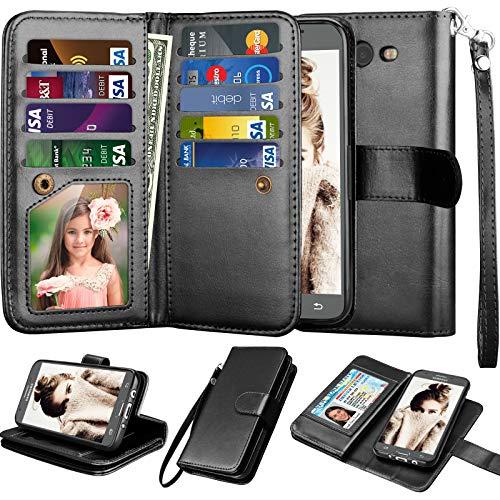 Njjex Galaxy J7 Sky Pro Wallet Case, for Galaxy J7 V /J7 Prime/J7 Perx Case, PU Leather [9 Card Slots] ID Credit Flip Cover [Detachable] [Kickstand] Cover & Wrist Strap for Samsung J7 2017 [Black]