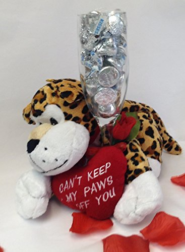 Valentine's Day Leopard With Champagne Flute Glass Filled With Hershey's Chocolate Kisses and a Red Heart - Valentine Leopard Plush - Chocolate Gift ()