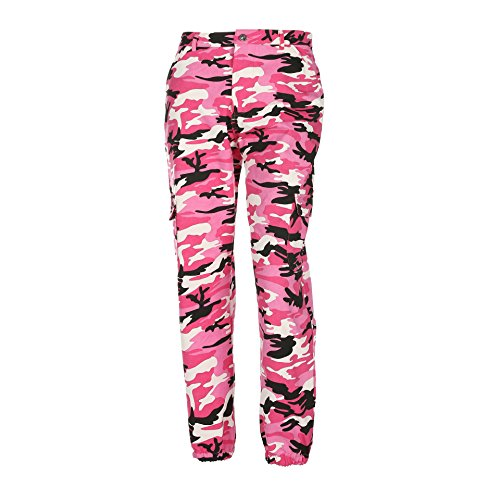 Pink Camouflage Pants - Womens Camouflage Camo Pants Sweatpants Cargo Trousers High Waist Casual Streetwear Multi-Pockets Jogger Pants (Hot Pink, Small)