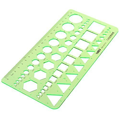 - Master Template Plastic Geometric Ruler with 4 designs, 8.6 X 4.2 Inch, Green