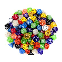 Wiz Dice GDIC-1000 100 Plus Pack of Random Polyhedral Dice in Multiple Colors with Free Pouch Set
