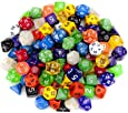 Wiz Dice Random Polyhedral Dice in Multiple Colors (100 + Pack) Bundle with Wiz Dice Pouch