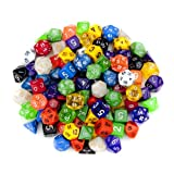 100+ Pack of Random Polyhedral Dice in Multiple Colors Plus Free Pouch Set by Wiz Dice thumbnail
