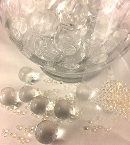 Clear transparent water gel beads, water balls, water crystals, home decor, vase filler, DIY centerpieces Price 10 packs of 100 gels,1000 total. Beads are tiny until soaked in water for (Crystal Bead Ball)