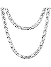 f988a6c0378bfb 9mm Curb Mens Necklace - Silver Chain Flat Cuban Stainless Steel Jewelry -  Neck Link Chains