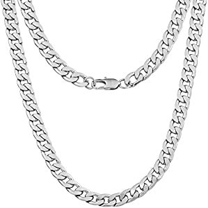 Win A Free Silvadore 9mm Curb Mens Necklace - Silver Chain Flat Cuban...