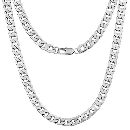 Silvadore 9mm Curb Mens Necklace - Silver Chain Flat Cuban Stainless Steel Jewelry - Neck Link Chains for Men Man Boys Male Heavy Military - 18 20 22 24 inch (24, Leatherette Box)