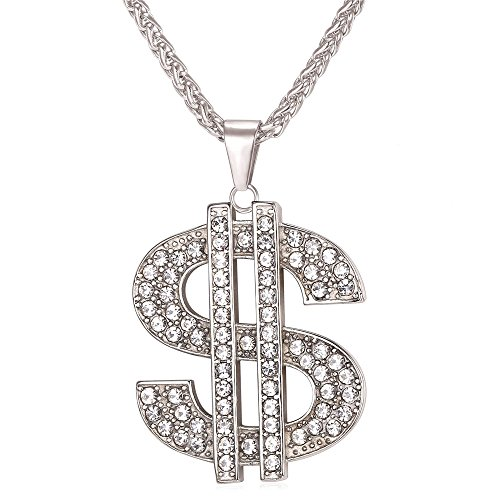 Men Hip Hop Jewelry Stainless Steel Chain 2.2 Inch Big Dollar Sign -