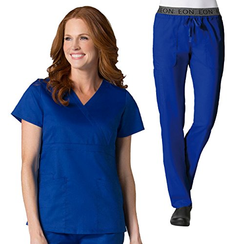 Maevn Eon Active Back Mesh Panel Mock Wrap Top & Waistband Cargo Scrub Pant Set (Embroidered Mock Wrap)