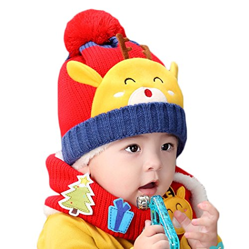 Hikfly Winter Knit Beanie Cap Scarf Set for Baby Girls Boys Toddlers Outdoor Sports Thermal Hat Warmer Scarf Xmas Gift (6-36 months) (Red, - And Compare Contrast Bright Eyes