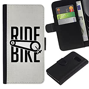 iKiki Tech / Cartera Funda Carcasa - Ride Bike Bicycle Sport Exercise Cyclist - Samsung Galaxy S6 SM-G920