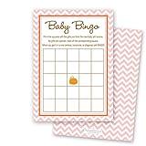 MyExpression.com 24 Cnt Little Pumpkin Pink Chevron Baby Shower Bingo Cards