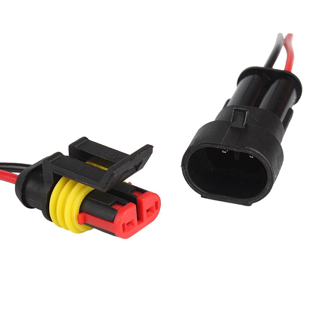 3 Pin Larcele 10 Pezzi Impermeabile Connettore Elettrico con Filo per Auto QCLJQDX-01