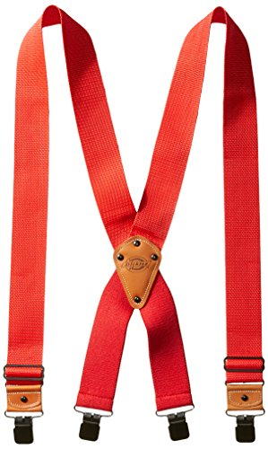 Dickies Industrial Strength Suspenders - Men's Wide Adjustable Thick Strap Clips for Work Heavy Duty Pants,Red,One -