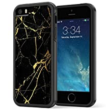 iPhone SE 5 5s Case, True Color® Black & Gold Marble [Stone Texture Collection] Slim Hybrid Hard Back + Soft TPU Bumper Protective Durable [True Protect Series]