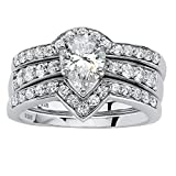 Platinum over Sterling Silver Pear Cut Cubic Zirconia Chevron Bridal Ring Set