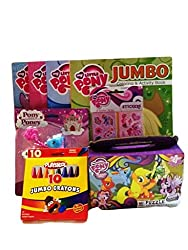 4- My Little Pony Jumbo Coloring Activity Book, Crayons, Princess Pony Playset (Blue & White), Stickers, 48pc Puzzle, 16oz Cup, 9pc Gift Set Bundle