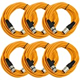 Seismic AudioSAXLX-25Orange6 Pack of 25-Feet Orange XLR Male to XLR Female Microphone Cables, Balanced