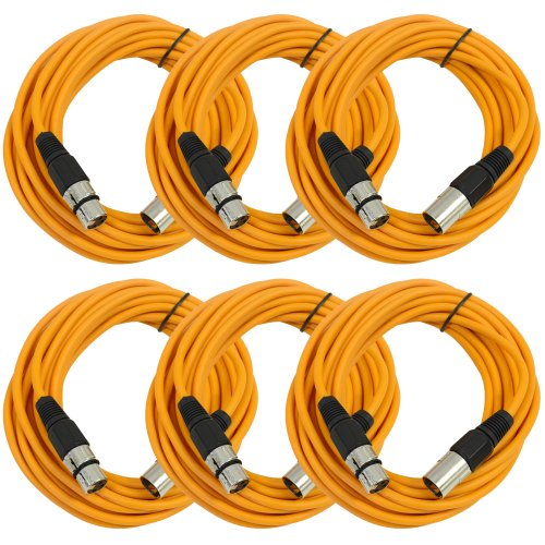 Seismic AudioSAXLX-25Orange6 Pack of 25-Feet Orange XLR Male to XLR Female Microphone Cables, Balanced