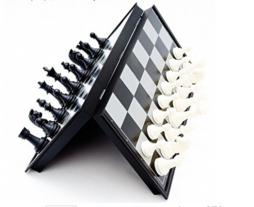 Dazzling Toys Magnetic Travel Chess Set - Portable Folding Mini Black and White Chess Game with Magnetic Pieces - Best Portable Chess Set - Party Favor (Mini Portable Chess Set)