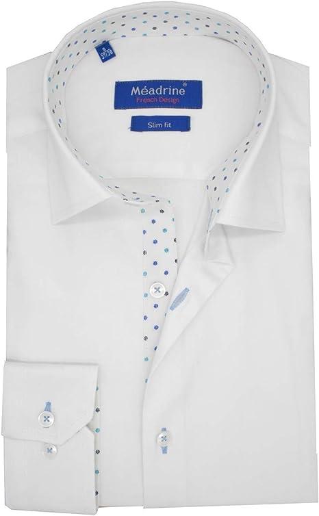 Meadrine - Camisa Blanca y Dibujo para Hombre: Amazon.es: Ropa y accesorios