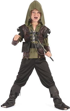Cazador (S),Pequeño 110cm-122cm,Conjunto incluye camisa con capucha, Pantalones, Protecciones para e