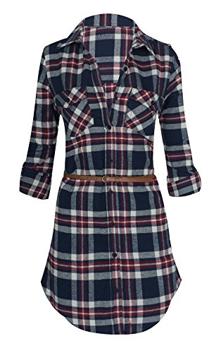 Buy belted button down shirt dress - 7