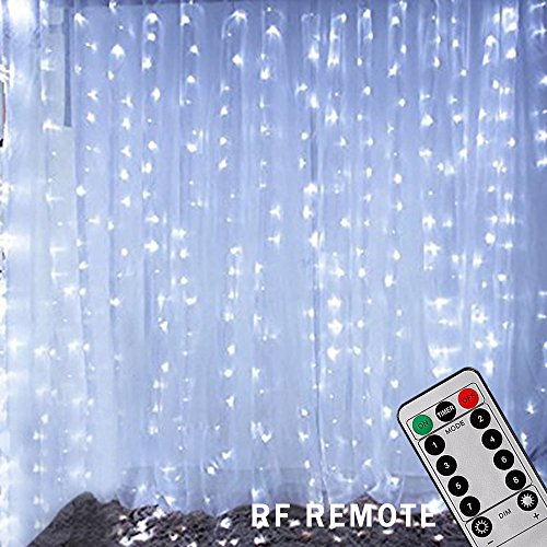 Bjour 600 LEDs Curtain Icicle Lights Christmas String Fairy Light Low-Voltage with 8 Lighting Modes RF Controller, Cool White