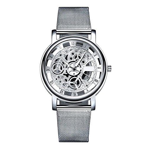 Bluelans Men's Steampunk Skeleton Dial Luxury Stainless Steel Mesh Band Wrist Watch