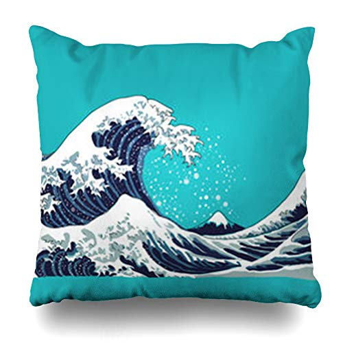 VivYES Throw Pillow Covers Motif Blue Ocean Wave