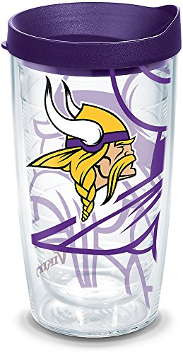 Tervis 1292159 Nfl Minnesota Vikings Tumbler With Lid, 16 oz, Clear