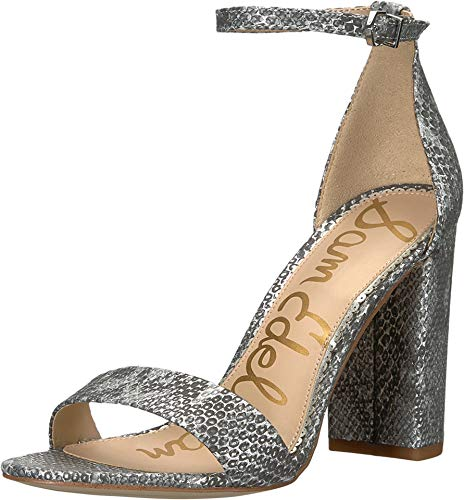 (Sam Edelman Women's Yaro Ankle Strap Sandal Heel Soft Silver Tropical Snake Metallic Leather 7.5 M US)