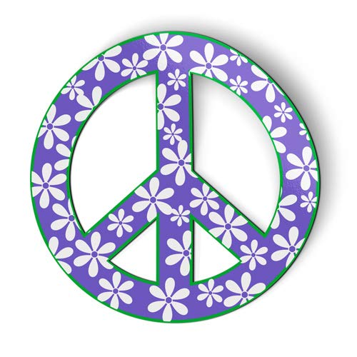 AK Wall Art Peace Sign Purple Flowers - Magnet - Car Fridge Locker - Select Size - Trendy Peace Sign