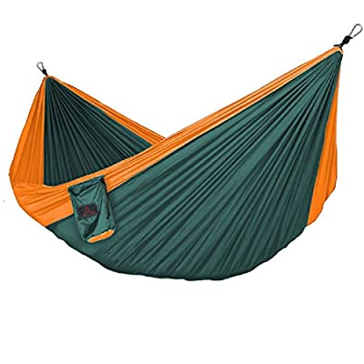 "JETOPIC Camping Hammock - Lightweight Double Hammock, 118""(Long) x 78""(Wide) - Portable Hammock for Backpacking, Hiking, Travel, Yard, and Beach - Steel Carabiners and Tree Ropes Included"