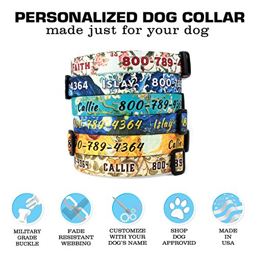 Picture of Buttonsmith Custom Personalized Art Dog Collar - Fadeproof Permanently Bonded Printing Process, Military Grade Rustproof Buckle, Resistant to Odors & Mildew, Choice of 5 Sizes, 100% Made in USA