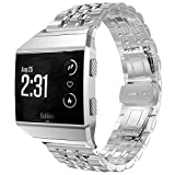 FOLICE for Fitbit Ionic Stainless Steel Strap, Fitbit Ionic Watch Metal Band Clasp(Move Links by Hand, Seven Beads Strap) + Adapter for Fitbit Ionic Watch (Silver)