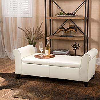 Danbury Off White Leather Armed Storage Ottoman Bench
