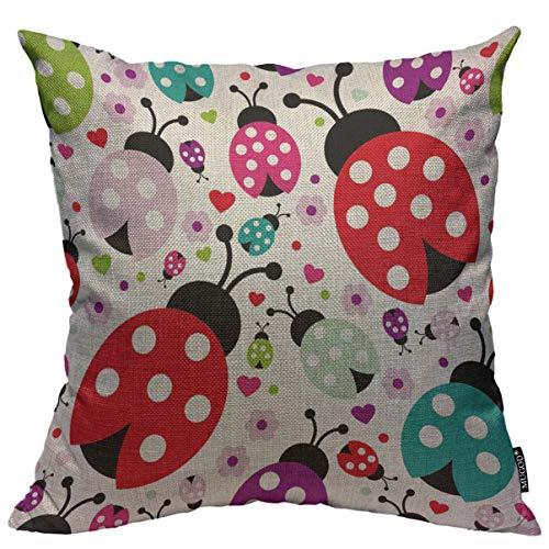 Mugod Ladybug Throw Pillow Cover Seamless Kids Lady Bug Polka Dot Hearts Flowers Pattern Home Decorative Square Pillow Case for Men Women Kids Bedroom Livingroom Cushion Cover 18