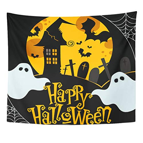 Emvency Wall Tapestry Ghost Cute Halloween Cobweb House Cartoon Flying Autumn Bat Black Decor Wall Hanging Picnic Bedsheet Blanket 60x50 Inches -