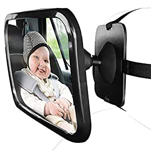 Baby Car Mirror for Rear View Facing Back Seat for Infant Toddler Child in Car Seat- 360 Adjustable & Double Straps