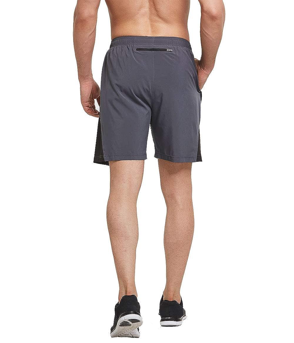 BALEAF Mens 7 Quick Dry Running Workout Shorts Loose Fit Training Shorts Mesh Panels Zip Pocket