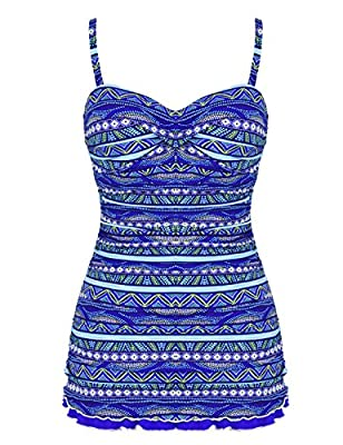 Hilor Women's One Piece Swimsuits Tummy Control Swimwear Ruffle Swimdress with Built in Swim Brief